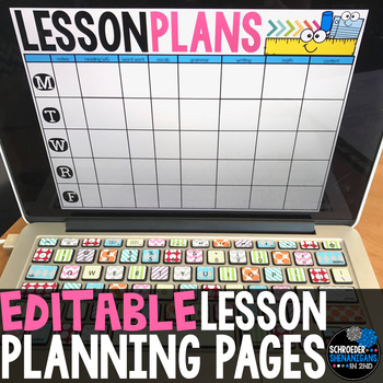 EDITABLE WEEKLY LESSON PLANNING PAGES - 6, 7, or 8 subject