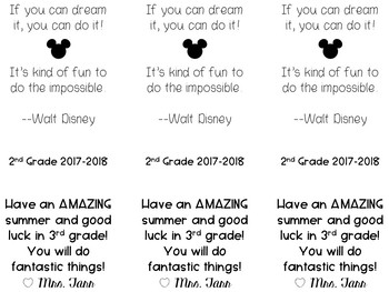 EDITABLE Walt Disney Quote Bookmark for the End of the Year FREEBIE