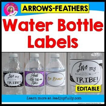 EDITABLE Water Bottle Labels (Arrows & Feathers Theme)