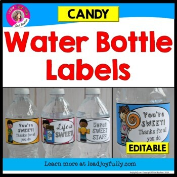 EDITABLE Water Bottle Labels (Candy Theme)