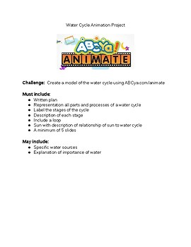 EDITABLE Water Cycle Animation Project STEM