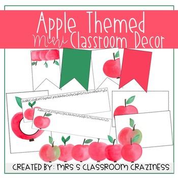 EDITABLE Watercolor Apple Classroom Decor BUNDLE