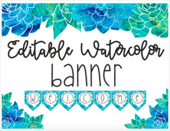 EDITABLE Watercolor Blue and Green Floral Banner