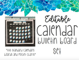 EDITABLE Watercolor Blue and Green Floral Calendar Bulletin Board Set