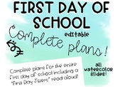 EDITABLE Watercolor COMPLETE First Day Plans and Intro ppt