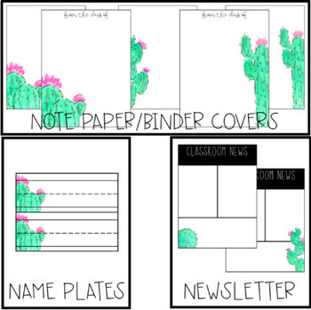 EDITABLE Watercolor Cactus Classroom Decor Basics