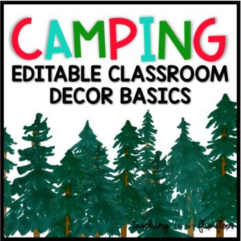 EDITABLE Watercolor Camping Classroom Decor Basics