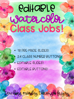 EDITABLE Watercolor Floral Class Jobs!