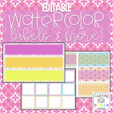 EDITABLE Watercolor Labels & Number Cards!
