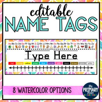 EDITABLE Watercolor Nametags