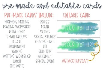 EDITABLE Watercolor Schedule Cards BUNDLE