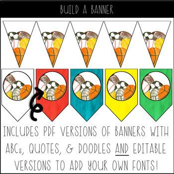 EDITABLE Watercolor Sports Classroom Decor Pack