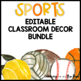 EDITABLE Watercolor Sports Classroom Decor Pack