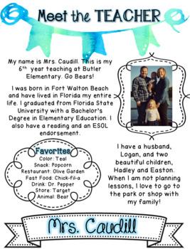 EDITABLE Watercolor Teacher Introduction Letter