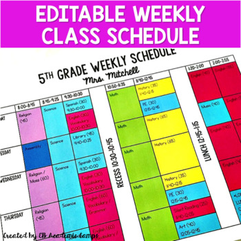 Class Schedule Template Weekly  Editable  Tpt