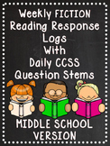 EDITABLE Weekly Fiction Reading Logs with Response Options Middle School Edition