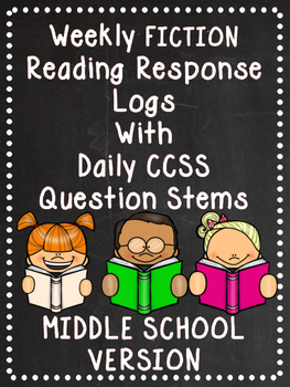 EDITABLE Weekly Fiction Reading Logs with Response Options