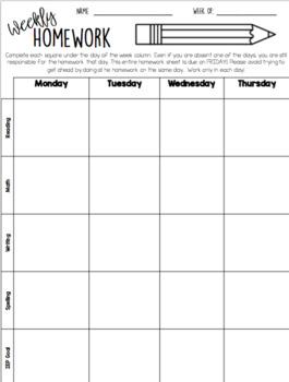 EDITABLE Weekly Homework