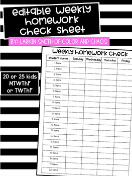 EDITABLE Weekly Homework Check Form