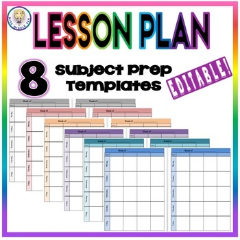 EDITABLE Weekly Lesson Plan Template Format - Eight Subject Prep