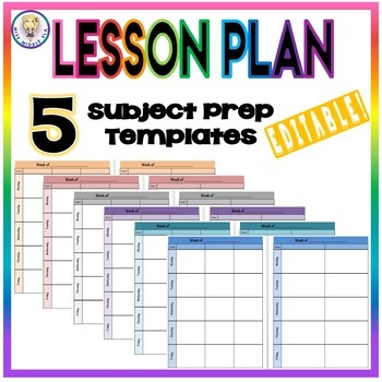 EDITABLE Weekly Lesson Plan Template Format - Five Subject Prep