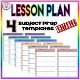 EDITABLE Weekly Lesson Plan Template Format - Four Subject Prep