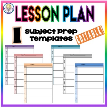 EDITABLE Weekly Lesson Plan Template Format One Subject Prep TpT - One subject lesson plan template