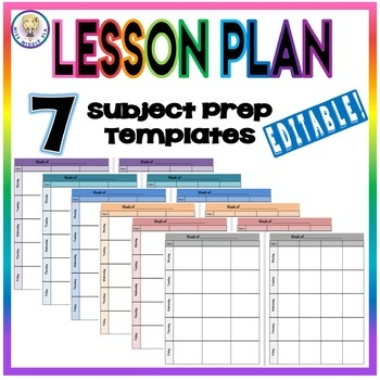 EDITABLE Weekly Lesson Plan Template Format - Seven Subject Prep