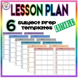 EDITABLE Weekly Lesson Plan Template Format - Six Subject Prep