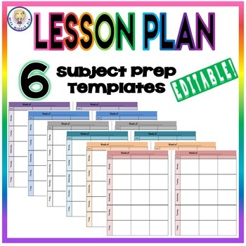 Editable weekly lesson plan template format six subject for 6 week lesson plan template