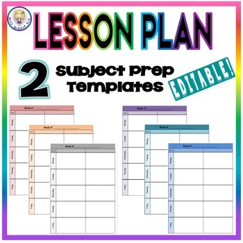 Editable Weekly Lesson Plan Template Format Two Subject Prep Tpt