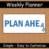 User-Friendly Weekly Planner -  Personalize in 60 Seconds