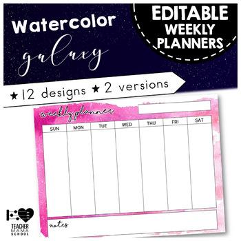 EDITABLE Weekly Planner { Watercolor Space Galaxy }