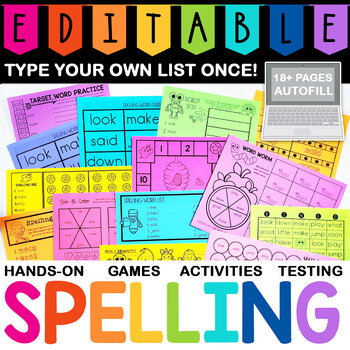 EDITABLE Weekly Spelling List Pack: Name Practice, Sight Words, Fine Motor Fun!