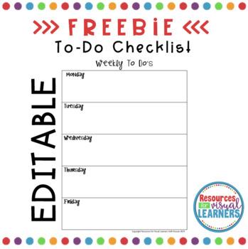 EDITABLE Weekly TO-DO List