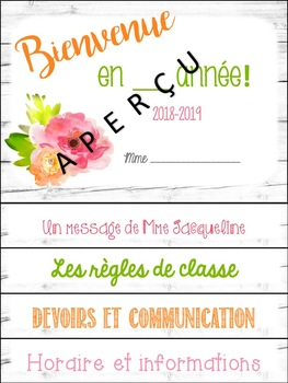EDITABLE Welcome FRENCH flipbook-Cahier à cachettes 'Bienvenue' MODIFIABLE