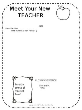 EDITABLE Welcome / Meet Your New Teacher Letter & Supply List