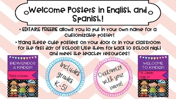 EDITABLE Welcome Posters English/Spanish
