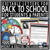 Welcome Back to School Letters Editable: Meet The Teacher Template, Open House
