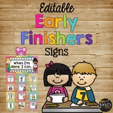 Early Finishers Activities Signs EDITABLE, Classroom Management Rainbow Chevron