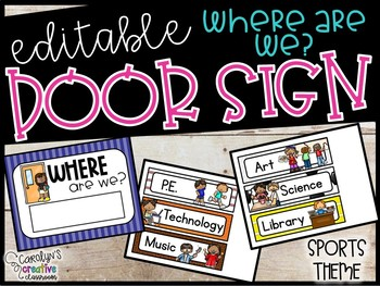 EDITABLE Where Are We Door Signs - Where Are We Sports Door Signs