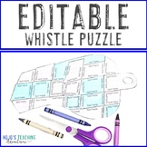 EDITABLE Whistle Puzzle | Supplemental SPORTS THEME CLASSROOM Decor Item
