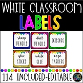 EDITABLE White CLASSROOM Labels {for Target Dollar Spot SQ