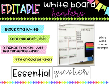EDITABLE White board headers/labels * Black and White * Use colored paper!