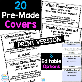 EDITABLE Whole Class Journal Covers for Work on Writing