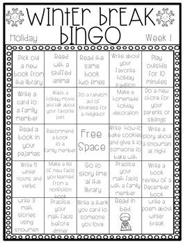 EDITABLE Winter Break Bingo