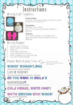 EDITABLE Winter Writing Crafts
