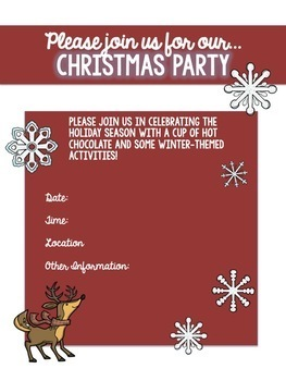 EDITABLE Winter, Holiday, & Christmas Class Party Invitations