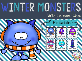 EDITABLE Winter Monsters Write the Room Cards