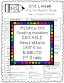 EDITABLE Wonders Newsletters 2nd Grade Units 1-6 BUNDLED